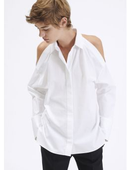 Shoulderless cotton shirt