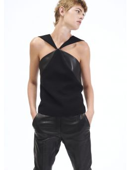 Top with crepe and leather panels