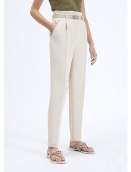 High-waist crepe trousers