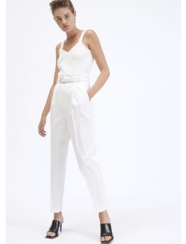 High-waist cotton gabardine trousers