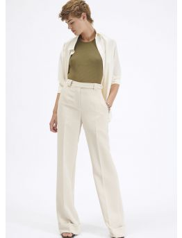Large cuffed crepe trousers