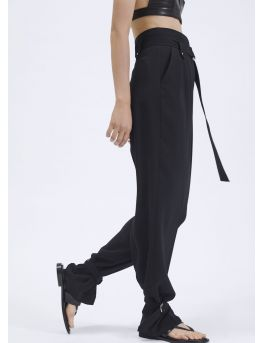 Large high-waist fluid crepe trousers