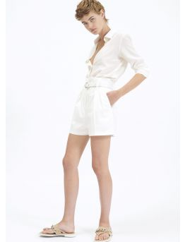 High-waist cotton gabardine shorts