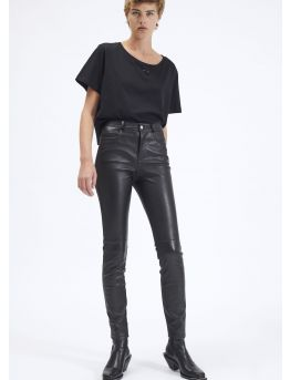 Pantalon 5 poches en cuir plongé Stretch