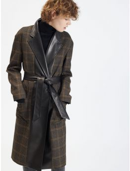 Plaid wool and leather coat